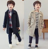 Autumn  2013 children's clothing boys outerwear medium-long trench coat double breasted windbreaker Khaki N Navy in stock