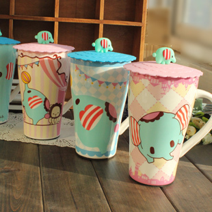 Circleof mint ceramic cup with cover cartoon silica gel cover cute coffee cup mug breakfast cup