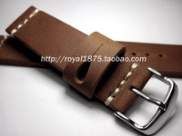 Soft genuine leather handmade crazy horse leather watchband 20mm coffee small male cowhide watchband retro finishing