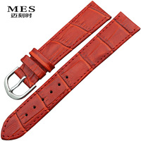 Ultra-thin tspj red genuine leather watchband 10 12 14 16 18 19mm women's watch chain cowhide watch band