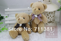 Free Shipping By EMS, 12 cm High Plush Teddy Keychain, Brown Bear Toys With A Cute Bow Tie