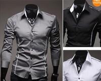 2013 Korean Men's Fashion Stylish Casual Trim Slim Fit Dress Shirts Long Sleeve Shirt Free Shipping