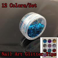[NGZ-012]12 Colors Nail Art Glitter Tips Decoration, Shiny Metal Flakes Nail Tools Set + Free Shipping
