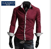 New Arrival Free shipping New Hot  Men's Casual Slim fit Stylish Dress Long Sleeve Shirts for man.Size:M L XL XXL. 4 colors