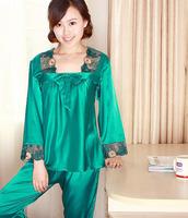 3xl pajamas set new 2014  good quality elegant women's long-sleeve silk sleepwear  personalized sleepwear  set home clothing