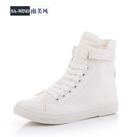 running shoes women flats new 2014 elevator denim white sneakers  canvas shoes high velcro canvas shoes women