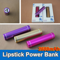 50pcs Lipstick Power bank universal use for Iphone 5 4 4S mp3 2600MAH external battery for samsung pink