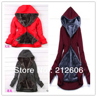 2013New Fahion Korea Style Women's Slimming Hooded Sweater High Quality Parkas Plus Thick Wool Liner warmly coat free shipping