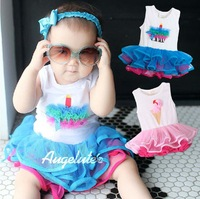 [CHINABOB]2013 new Baby girl TUTU dress sleeveless lace romper birthday gift icecream ball gown 3pcs/lot wholesale free shipping