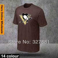 2013 Free Shipping 14 coloers Brand Men's O-Neck fashion sport Tee t shirt for men NHL model Penguin