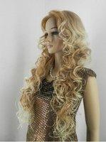Free Shipping HOT !long blonde curly mixed human made hair wig/wigs