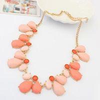 Gold Plated Shourouk Flower Water Drop Gem Chunky Choker Statement Necklace 2014 New Fashion Jewelry Women Wholesale MJ0463