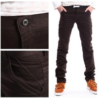 High Quality Fashion Men Long trousers Straight Leisure Pants Man brown color Free shipping