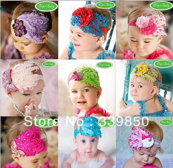 Christmas baby headband crystal hair band feather headband kids