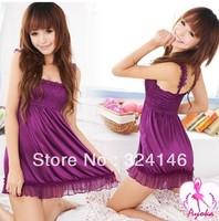 Purple Sleep wear Pajamas Sexy Erotic Lingerie Home Dresses For Women Kimono Set Robe Cardigan Nightie Dressing Gown Intimate