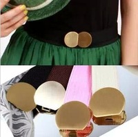Mixed $10 Free Shipping Elastic Belt Women Waistband Waist Multicolor Fashion lady's Metal Circle Double Buckle Belt 4 colors