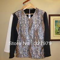 Man`s autumn winter cloth leopard plus velvet warm T-shirt Free Shipping 2 colours
