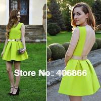 2014 fashion Neon cute dress, belt dress, pleated sexy dress, Skater  Dress neon green yellow