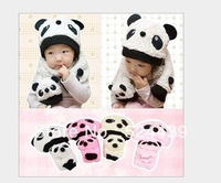 drop shipping hot children hat 100% wool hat+scarf two piece set Panda cap children animal cap winter Gift