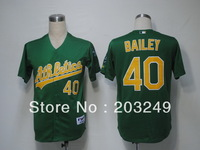 Oakland Athletics #40 Andrew Bailey green baseball jersey, free shipping by china post air mail