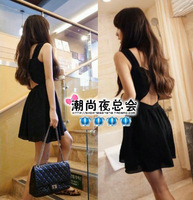 Cocktail Party black chiffon fashion sexy racerback 2013 summer women's bow party hollow out lady Boat Neck dress