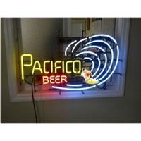 """Pacifico Neon Sign With A Surfer Riding A Wave 24"""" X 24"""""""