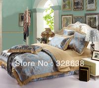 Sky blue Wedding Bedding/Duvet Cover Sets Stripes Pattern Tribute Silk Imitated/Tribute Silk Cotton Jacquard Weave Fabric 4pcs