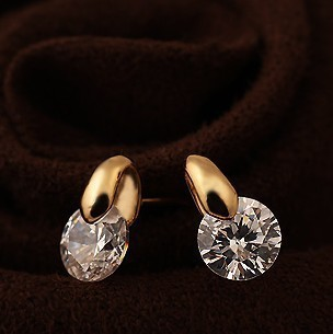 free shipping 18k gold plated lovely zircon stud earrings Min Order 6$ can mix order