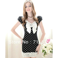 1 piece Free shipping 0212# Women's dress black white dot Lantern sleeve tight ruffle white hem short-sleeve one-piece dress