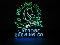Rolling Rock Beer Handcrafted Neon Light Sign 24''x 24''