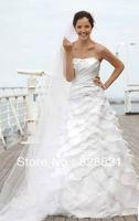 charming strapless A-line organza applique wedding dress size custom