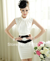 1 piece Free shipping Summer women's shirt elegant bowknot sleeveless 3008