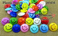 200PCS SMILLING FACE PLASTIC button 20MM sweater KIDS buttons MIXED BULK P-115