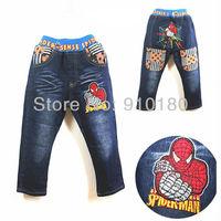 New arrivals kids boys cartoon Spiderman denim jeans pants baby fashion casual jeans trousers 5pcs/lot