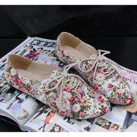 new   british style lacing Oxfords for women balmorals  derby shoe flat  fashion vintage cotton prints Oxfordshoes sapatos