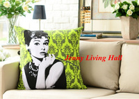 Green Audrey Hepburn Pillow Cover Moden Cushion Cover 60cmx60cm/2pcs/lot