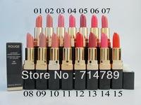 FREE SHIPPING New makeup lip colors Women rouge lipstick lip stick(5pcs/lot) 15 colors choose
