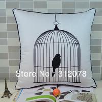 45 * 45 cm Modern Black White Bird Cage Print Microfiber Throw Cushion Cover Pillow Case for Sofa