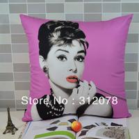 Fashion Sofa Audrey Hepbum Digital Printing Cushion Cover Pillow Case Throw Pillow Case,4 colors available, 45*45CM,