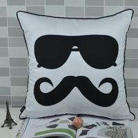 45*45 CM Cool Mustache Sunglasses Print Peach Skin Fabric Throw Cushion Cover Pillowcase for Sofa Chair