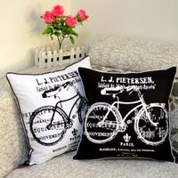 45*45 cm Home Decorate High Quality Bike Bicycle Print Throw Cushion Cover Pillowcase