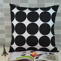 Retro Black Polka Dot Peach Skin Fabric Throw Cushion Cover Pillow Case for Sofa Bedding, 45*45CM,