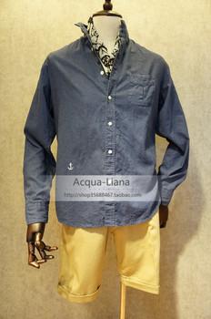 acqua- liana ropa para hombre ancla de moda camisa informal azul formales