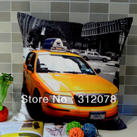 Peach Skin Fabric Modern Fashion Taxi Printed Sofa Office Cushion Cover 45*45CM