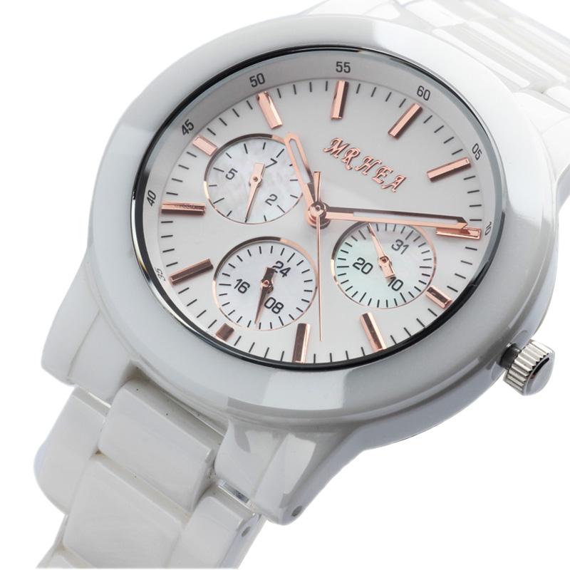 Fashion watches fashion ladies watch brief white ceramic table trend rhinestone table Free shipping(China (Mainland))