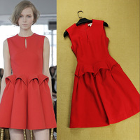 2013 Autumn Luxury Brand Designer Brief Dresses Sleeveless Above Knee Ruffles Pleated Dress