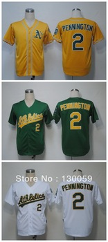 Free Shipping Cheap Men's Baseball Jerseys Oakland Athletics #2 Cliff Pennington Yellow Green White Jersey,100% Stitched