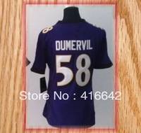 Baltimore 58 Elvis Dumervil Purple Black White Game Womens Football Jerseys 2013 New Free Shipping