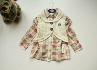 Free shipping 2013 autumn fashion two pieces clothes baby girl long sleeve blouse + sweater vest 5 pcs/lot