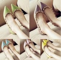 Fashion 13 rivet single shoes kakiasuka pointed toe sexy flat shoes candy color women's glass high heel shoes free shipping
